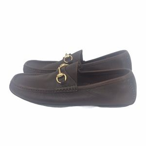 GUCCI HORSEBIT ACCENT BROWN LEATHER DRIVERS